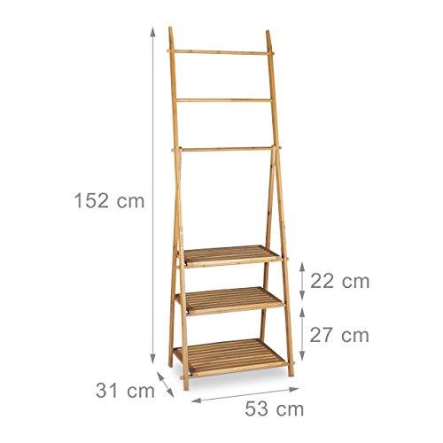 Relaxdays Handtuchhalter Bambus, Faltbar, Kleiner Kleiderständer, 3 Ablagen, 3 Handtuchstangen, 4 seitliche Haken, HxBxT: 152 x 53 x 31 cm, Holz, ...