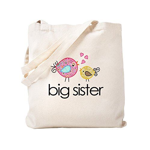 CafePress - Whimsy Birds Big Sister - Natural Canvas Tote Bag, Cloth Shopping Bag