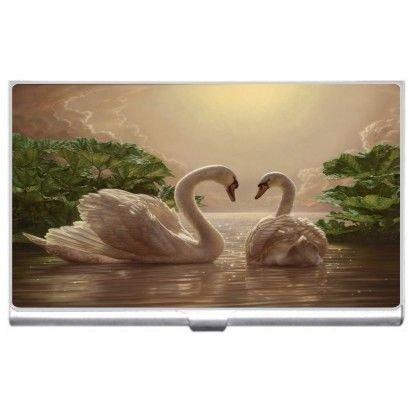 新しい美しい白鳥ビジネスクレジットカードホルダーケース   B01JIGWHK2