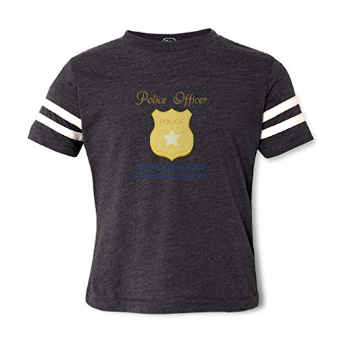 Personalized Custom Police Officer Police SGT Badge Cotton/Polyester Contrasting Stripes Crewneck Boys-Girls Toddler Sports T-Shirt Football Jersey Dark Gray