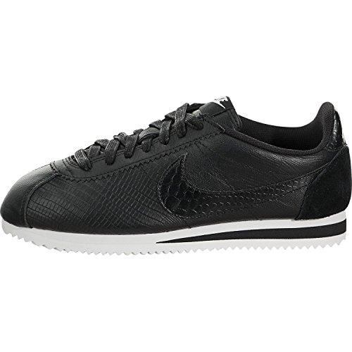 Nike Women's Classic Cortez Leather Premium Sneakers Black/White (Large Image)