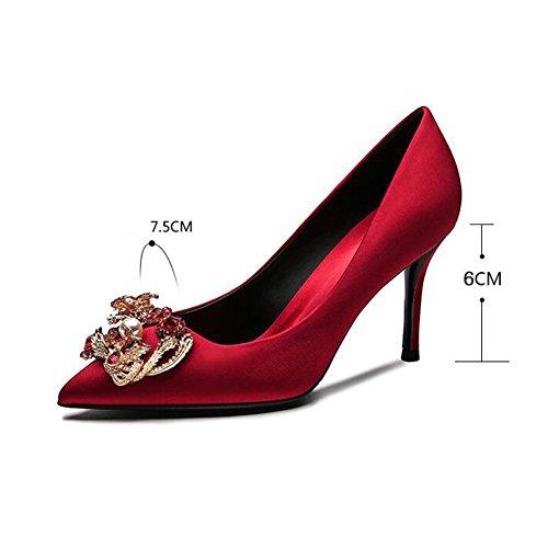 Bombas Muma Tacones Rojos 2018 Temporada De Primavera Mostró Zapatos De Boda Zapatos De La Novia Atractiva De Cristal (color: Eu36 / Uk3.5 / Cn35, Tamaño: 6 Cm) Eu36 / Uk4 / Cn36