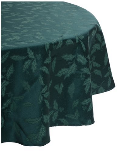 Lenox Holly Damask Tablecloth, 70 Inch Round, Green