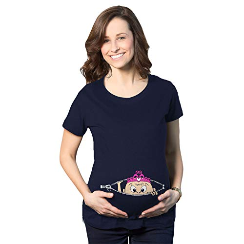 Maternity Peeking Princess Tshirt Cute Pregnancy Tee for Mom to Be (Navy) - XXL