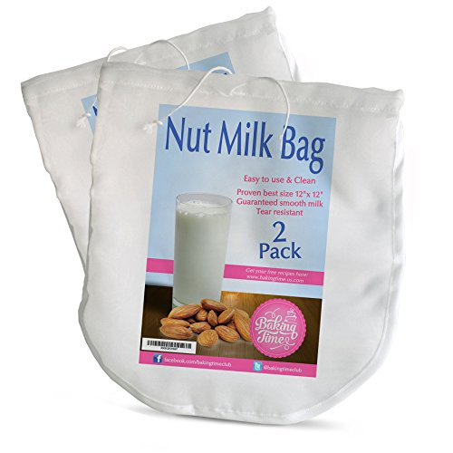 2 for 1 Nut Milk Bags Pack Eco Friendly Reusable Nylon Bag for Almond Milks and Raw Juice Strainer Cold Press...