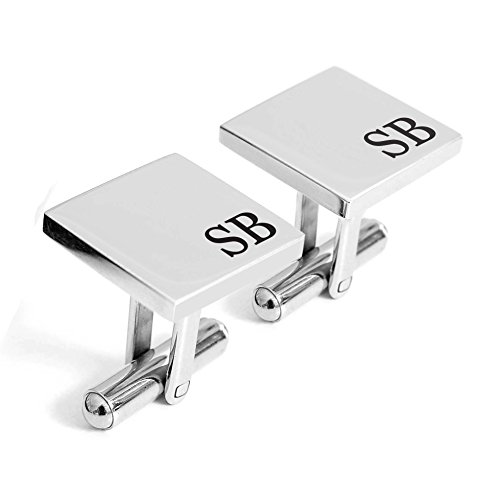(Personalized 925 Sterling Silver Wedding Engraved Cufflinks For Men Custom Made with Any Initials,)