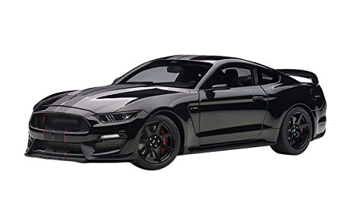 Ford Mustang Shelby GT-350R Shadow Black with Black Stripes 1/18 Model Car by Autoart 72934