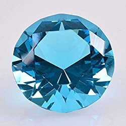 Turquoise Diamond Shaped Glass Crystal Paperweight