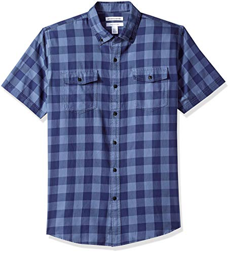 Amazon Essentials Men's Regular-Fit Short-Sleeve Two-Pocket Twill Shirt, Navy Buffalo, Medium