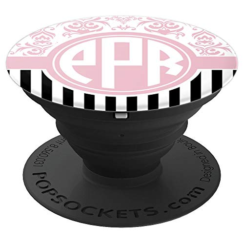PPR Monogram Phone Grip pink Damask Initials PPR or PRP - PopSockets Grip and Stand for Phones and Tablets
