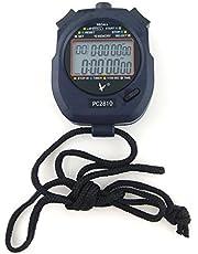 JZK Handheld Digitale stopwatch timer, 2 regels 10 geheugen, Countdown alarm, accu + lanyard, PC2810, voor Sports Training
