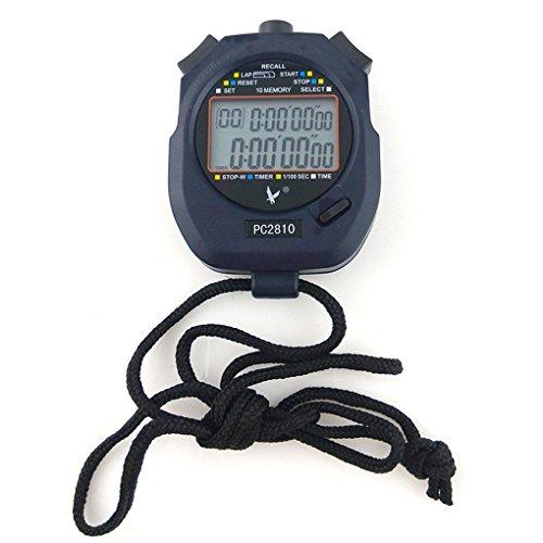 JZK Handheld Digital Stopwatch Timer, 2 regels 10 geheugen, countdown alarm, batterij + sleutel, PC2810, voor sport…