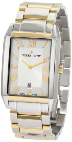 Pierre Petit Men's P-778D Serie Paris Two-Tone Rectangular Stainless-Steel Bracelet Date Watch