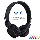 Bluetooth Volume Limiting Kids Headphones,Sodee Wireless/Wired Stereo Over-ear HD Headset with SD Card FM Radio In-line Volume Control Microphone for Children Adults (Black)