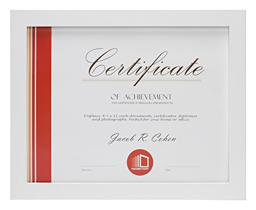 - Frametory, Document Frame - Made to Display Certificates 8.5x11 Inch - Document Frames, Certificate Frames, Standard Paper Frame (8.5x11, White)
