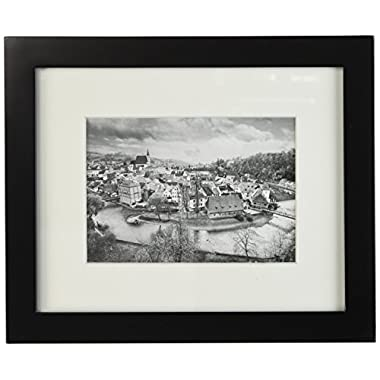 Golden State Art, 8x10 Black Photo Wood Collage Frame with REAL GLASS and White Mat displays for 5x7 Picture