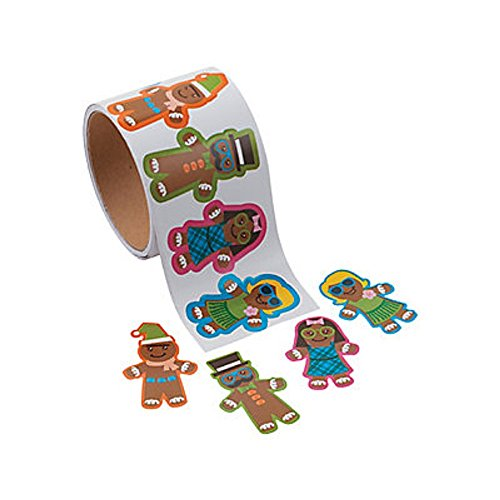 1 Roll ~ Gingerbread Stickers ~ 100 Paper 2 1/2