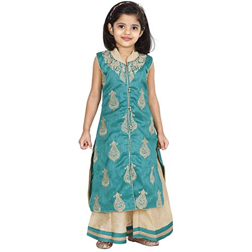 - Ashwini Girls Netted Embroidery Green Lehenga Choli Set,Green,10-11 Years