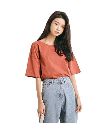 火山のラフ睡眠ビクターLIANHONG レディース tシャツ 半袖 カットソー 綿 夏 トップス シンプル 無地 ゆったり かわいい 大きいサイズ