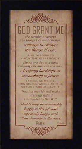 Serenity Prayer Print (God Grant Me by Lauren Rader 10x18 Serenity Prayer Religious Inspirational Framed Art Print Picture)