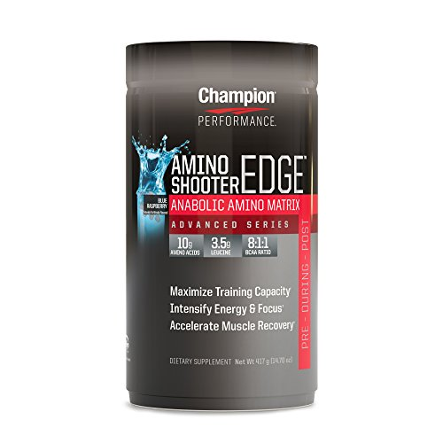 Champion Performance - Amino Shooter Edge - Blue Raspberry - Amino Matrix, Protein Synthesis and Lean Muscle Growth Support Supplement, Vitamin C, B12, Folic Acid, L-Glutamine, BCAAs - 14.7 oz.