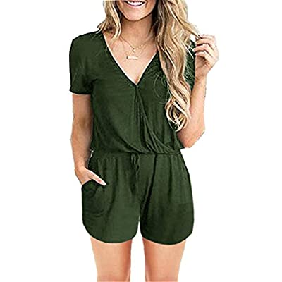 ANRABESS Women Jumpsuits Summer Loose Deep V Neck Short Sleeve Elastic Waist Romper Playsuits with Pockets: Clothing