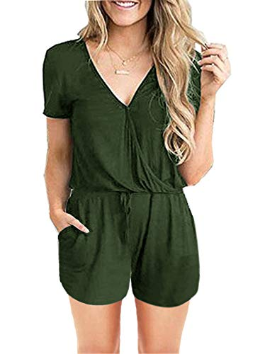 ANRABESS Women's Summer Solid Jumpsuit Wrap Top Short Sleeve Jumpsuit Rompers with Pockets Elastic Waist Playsuit duanV-junlv-S BYF-35