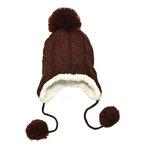 Fedi Apparel Warm Baby Cute Winter Crochet Knitted Hat with Earflap Rabbit Tab