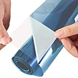 ZEALOTT Adhesive-free Static Cling No Glue Daytime Privacy and Solar Control Window Glass Tinting Film, Sun Blocker, 23.6 Inches by 78.7 Inches (60cm x 2m) per Roll, Blue Silver