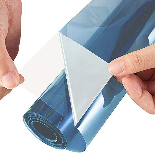ZEALOTT Adhesive-free Static Cling No Glue Daytime Privacy and Solar Control Window Glass Tinting Film, Sun Blocker, 23.6 Inches by 78.7 Inches (60cm x 2m) per Roll, Blue Silver by ZEALOTT