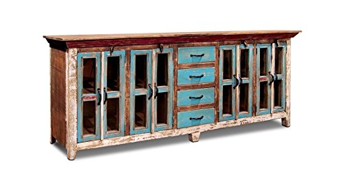 Burleson Home Furnishings Cabana Rustic Style Multi Color Sideboard - Solid Wood Construction Protective Flat Lacquer Finish 84 Inches Wide x 36 Inches Tall x 18 Inches Deep - sideboards-buffets, kitchen-dining-room-furniture, kitchen-dining-room - 4168Mm2qi6L -