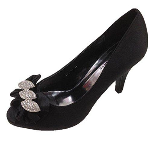 Sandale punta abierta con zapatos de tacón de fiesta, diseño de boda calzado 853-01 para mujer, color negro