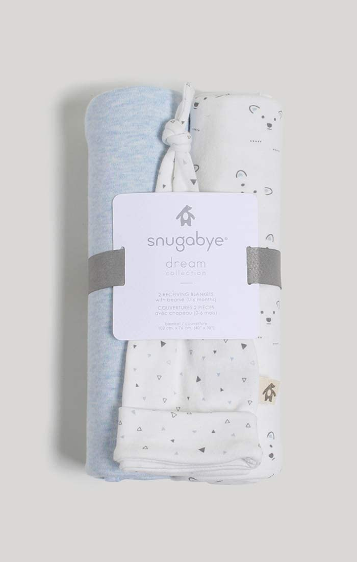 Bunny /& Solid Snugabye 2 Receiving Blankets /& Beanie Set Packaged as a Giftable Item