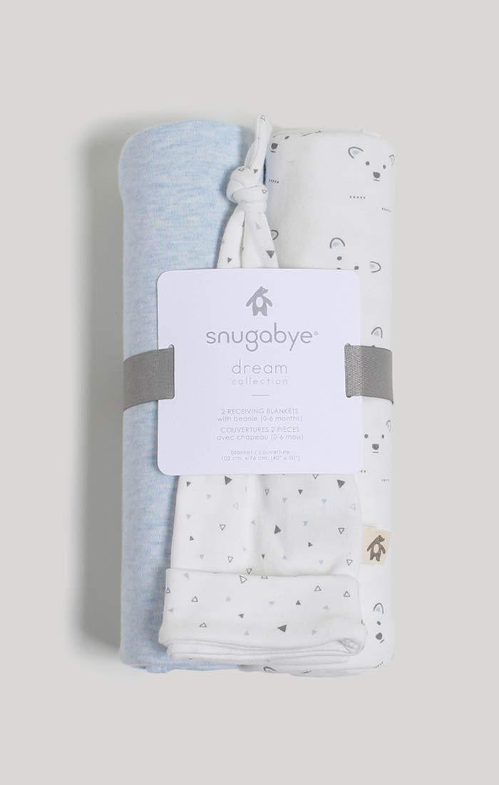 Bear /& Stripes Snugabye 2 Receiving Blankets /& Beanie Set Packaged as a Giftable Item