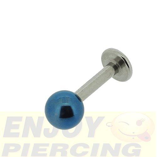 Piercing Lèvre Labret Acier Chirurgical 1,6mm Bille Titane Bleu Marine 5mm