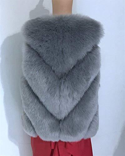 Grau Elegantes Invierno Casuales Chalecos Cortos Chaquetas Piel Fashion Cómodo Mujer Sin De Espesor Battercake Abrigo Sintética Mujeres Chaleco Termica Suave Mangas wIvR0z