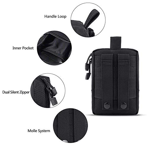 2 pack Molle Pochettes – tactique Compact résistant à l'eau multifonction EDC Utility Gadget Gear à suspendre Sacs de… 4