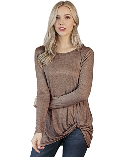 Preppy Doll Made in USA Women's Solid and Print Casual Soft Long Sleeve Side Knot Twist Knit Blouse Top (Medium, Mocha)
