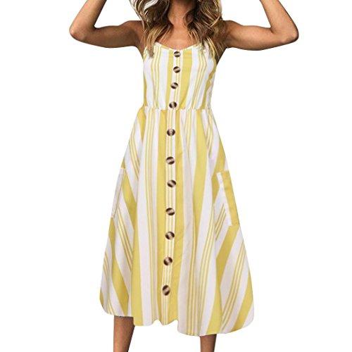 Vestidos Mujer Casual,Mujeres Vacaciones Rayas Damas Verano Playa Botones Vestido de Fiesta LMMVP U