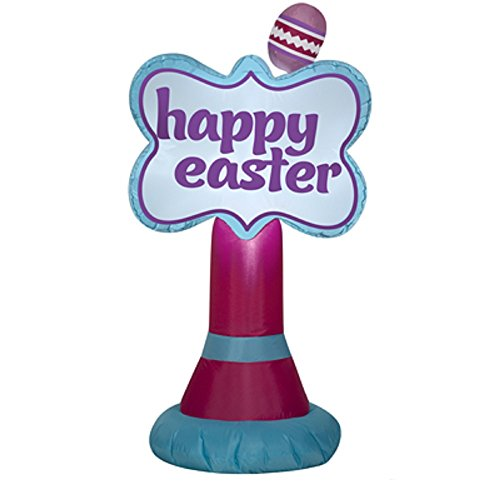 3.5' Inflatable Happy Easter Sign By Gemmy (Inflatable Easter Happy)