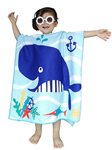 Athaelay Navy Blue Microfiber Hooded Beach Towel for Kids, Toddlers Bath/Pool/Swim Poncho Cover-ups Swimwear, Whale Theme ()