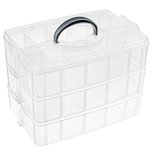 Plastic Craft Organizer Case Tool Storage Container Bins for Jewelry Beads Arts and Crafts Beauty Supplies Foraineam 3-Tier Stackable Storage Box Organizer with 30 Adjustable Compartments
