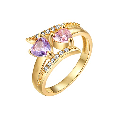 Silver Gold Engagement Ring Personalized Promise Ring For Her 2 Heart Birthstones Mother And Ladies' Valentine's Day Couple Rings (Gold, 6)