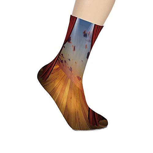 TecBillion Musical Theatre Home Decor Soft Mid Calf Length Socks,Dreamlike Fantasy Stage with Drapes Dramatic Cloudy Sunset Sky Socks for Men - Lr Drape