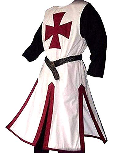 Medieval Crusader Templar Knight Warrior Tunic Robe Halloween Costume - Large (Burgundy)