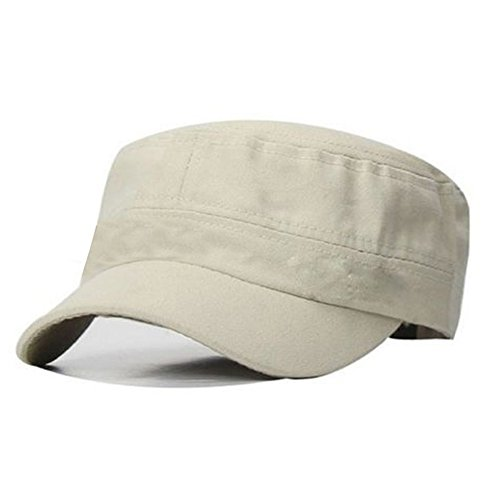 PATTONJIOE Classic Vintage Army Cadet Style Cotton Cap Adjustable Beige (Chinese Style Hat)