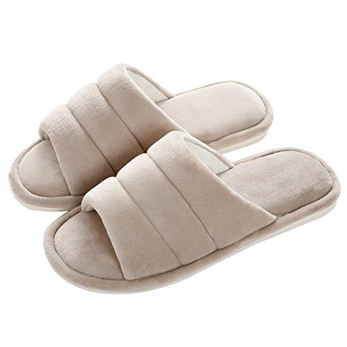 Pantofole Invernali Antiscivolo Da Uomo / Donna Morbide Open Toe Miyang Kaki