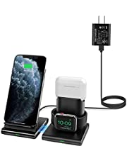 Seneo Wireless Charger, 3 in 1 Wireless Charging Station for Apple Watch, AirPods, Detachable and Magnetic Wireless Charging Stand for iPhone 11/11 Pro Max/X/XS/XR/Xs Max/8/8 Plus(with QC 3.0 Adapter)