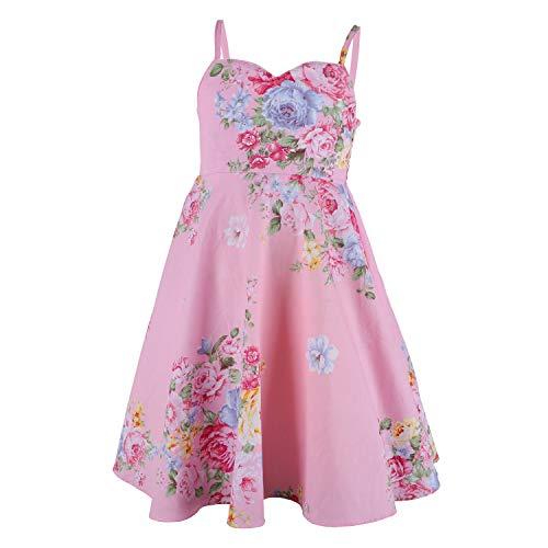 Flofallzique Vintage Floral Easter Dress for Girls 7 Colors Birthday Wedding Party Dress for Toddler (4, Pink 3)]()
