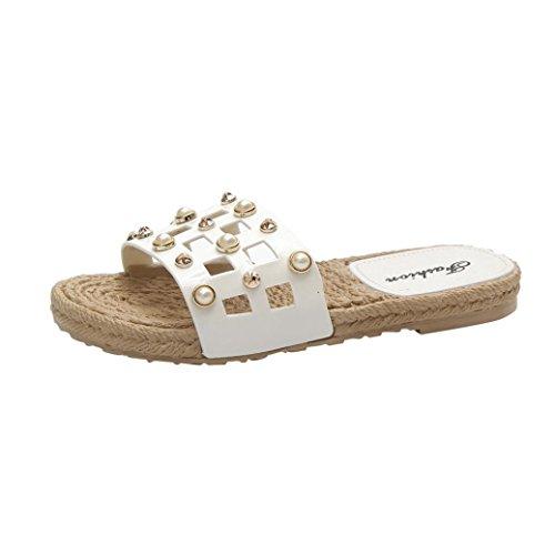 Btruely Hausschuhe Damen Sommer Strandschuhe Flip-Flops Elegante Freizeitschuhe Damen Flach Sandalen Platform Slippers Frauen Offene Sandalen Weiß